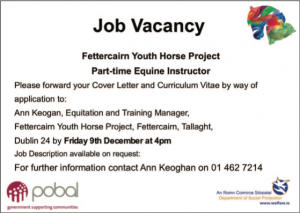 FYHP Part time Equine Trainer Advertisement